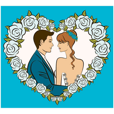 Illustration of beautiful bride and groom Vector