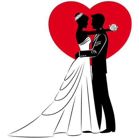 vőlegény: vektoros illusztráció a gyönyörű menyasszony és a vőlegény sziluett