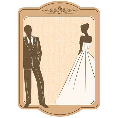 vector Illustration of beautiful bride and groom's silhouette Stock Vector - 11279992