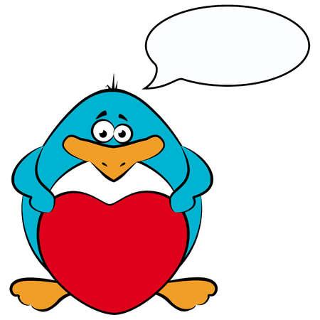 cartoon penguin with heart Vector