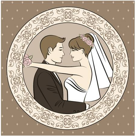 vector Illustration of beautiful bride and groom's silhouette Stock Vector - 11279989