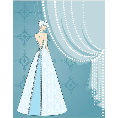 beautiful bride on  background Vector