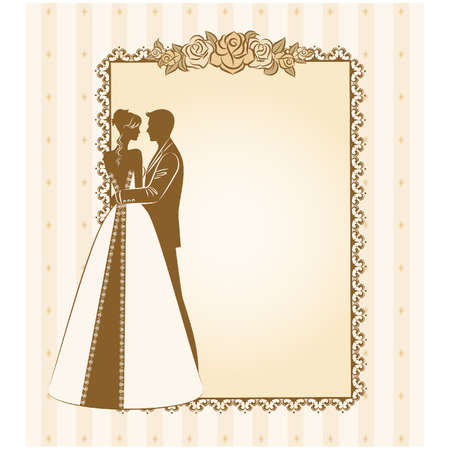 bride veil: vector Illustration of beautiful bride and grooms silhouette