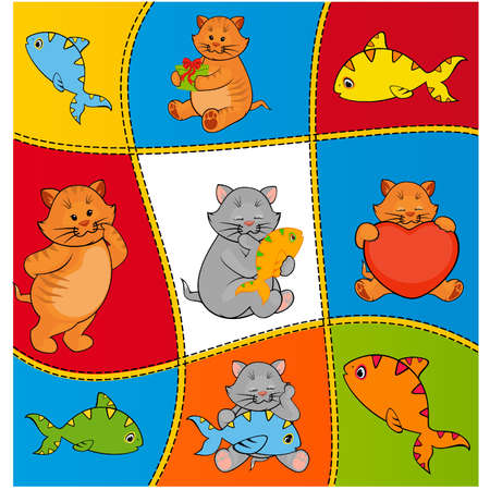 cartoon little kitten with fish Vector