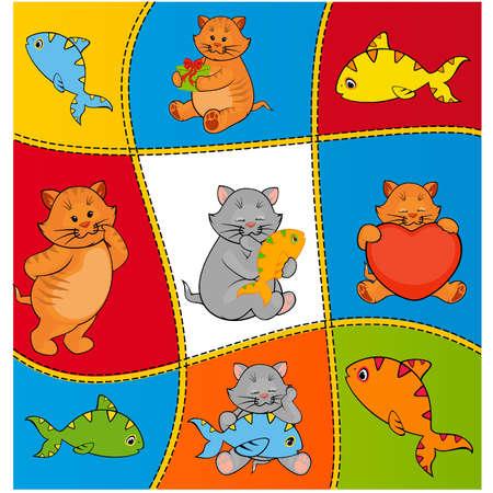 cartoon little kitten with fish Stock Vector - 11279444