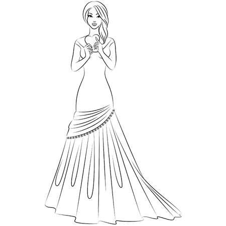 schöne Braut auf einem weißen Hintergrund