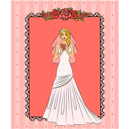 vector Illustration of beautiful bride Vector