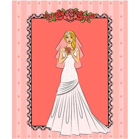 vector Illustration of beautiful bride Vector