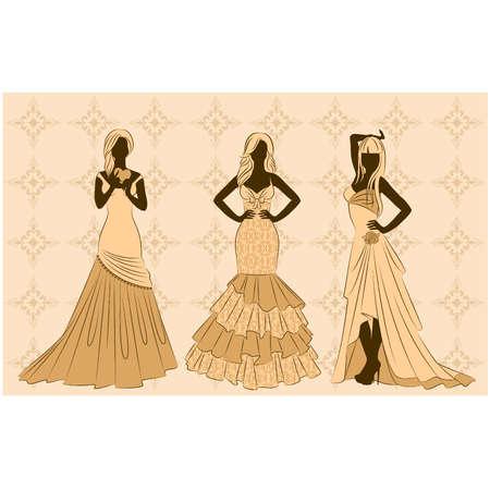 dress coat: vector Illustration of beautiful bride