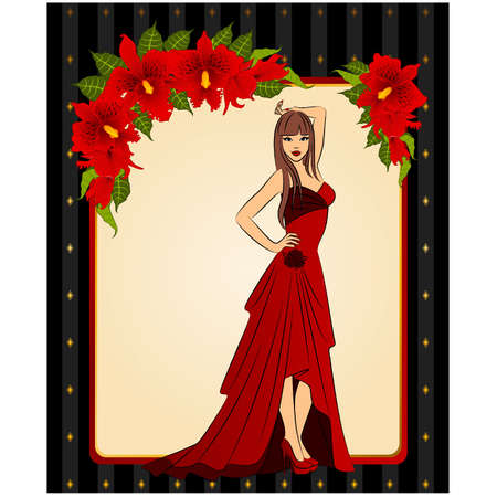 green dress: vector Illustration of beautiful bride