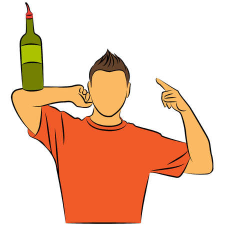 Vector silhouette of barman showing tricks with a bottle Vector