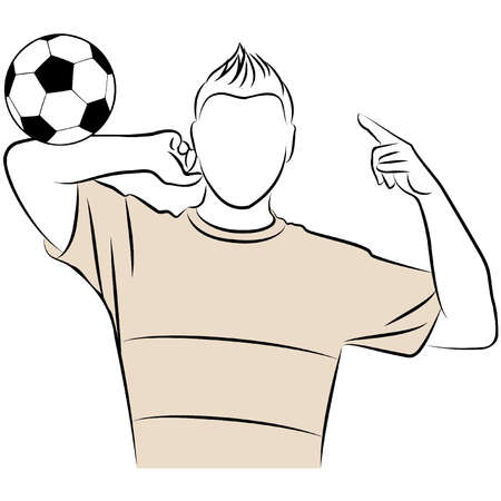enjoyment: Cartoon athletic man plays football against white background Illustration
