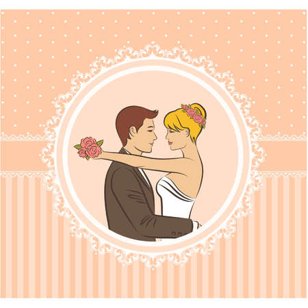 beautiful bride and groom. Vector Vector