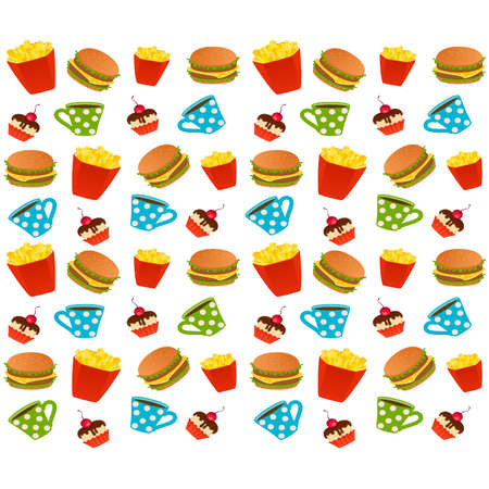 Vector cheeseburger with the pack of french fries, sweet cupcake on white background Vector