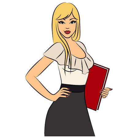 사무실에서 아름 다운 비즈니스 여성. 벡터