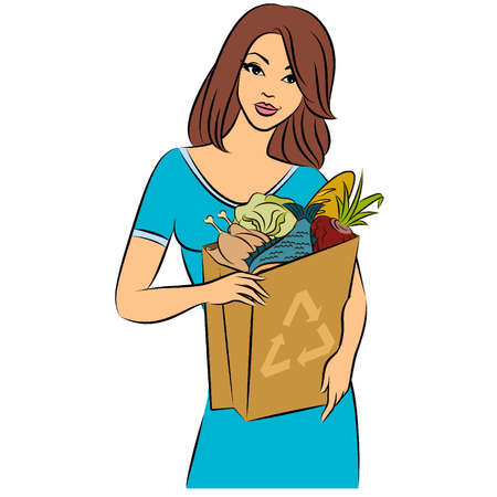 happy healthy woman: Girl with a shopping bag filled with healthy meal ingredients. Vector