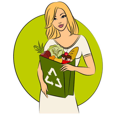 Girl with a shopping bag filled with healthy meal ingredients. Vector Vector
