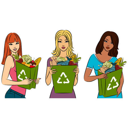 Girl with a shopping bag filled with healthy meal ingredients. Vector Stock Vector - 11279442