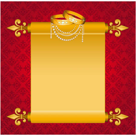 Old paper in scrolls with two wedding rings. Vector Vector
