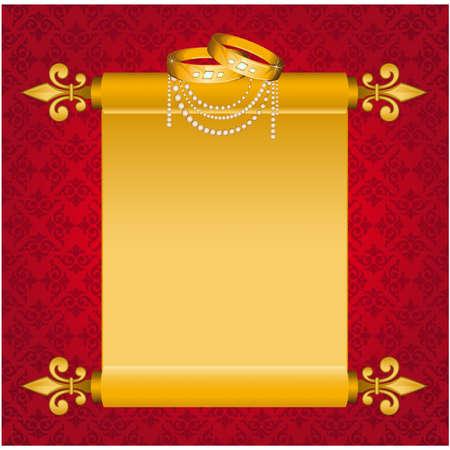 papiro: Vecchi fogli di carta in rotoli con due anelli di nozze. Vettore