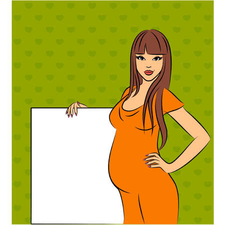 mother with baby: Beautiful pregnant girl with white blank. Vector