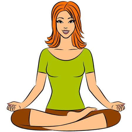 Beautiful woman sitting in yoga lotus position. Vector illustration
