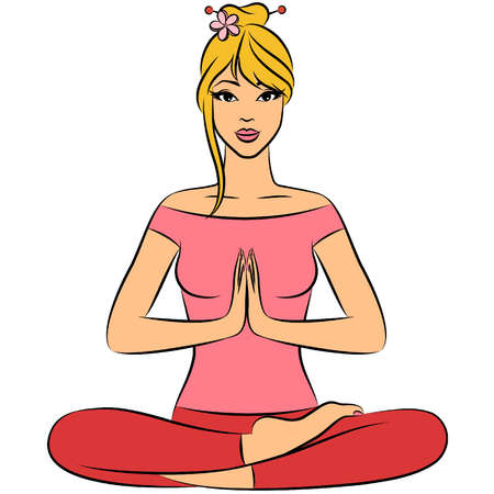 human aura: Beautiful woman sitting in yoga lotus position. Vector illustration
