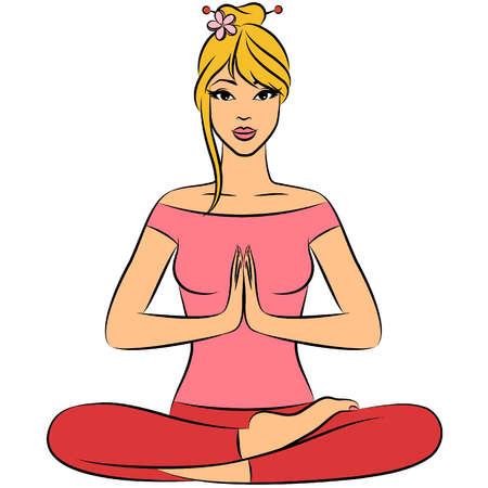 Mooie vrouw zittend in lotushouding yoga. Vector illustratie Stock Illustratie