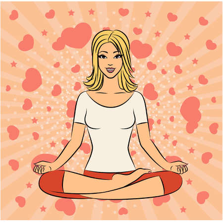 ashram: Beautiful woman sitting in yoga lotus position. Vector illustration