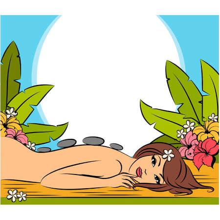 Girl during her spa session. Vector illustration Vector