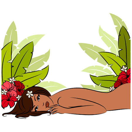 Girl during her spa session. Vector illustration