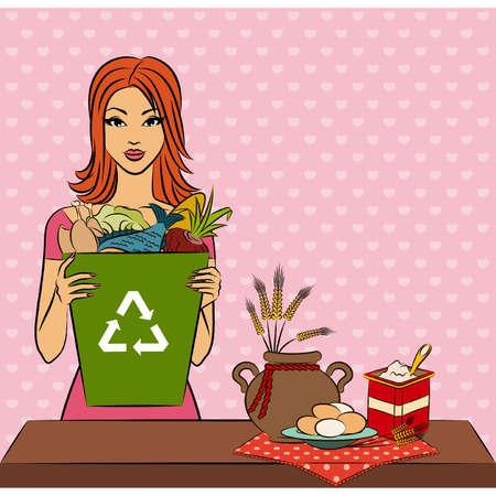 Beautiful girl with healthy meal ingredients. Vector Stock Vector - 11278213