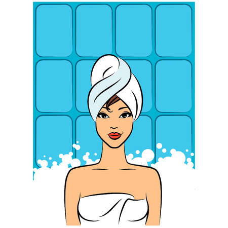 Beautiful women in a towel after a shower. Vector Vector