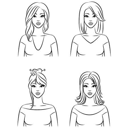 Set of women with hairstyle Stock Vector - 11278200