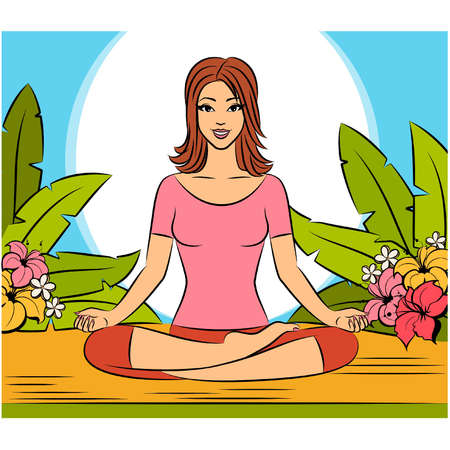 Beautiful woman sitting in yoga lotus position. Vector