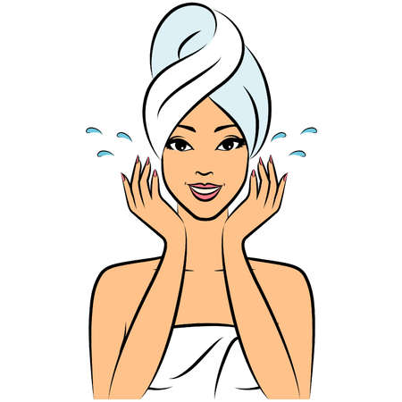 facial care: Beautiful women in a towel after a shower. Illustration