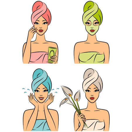 Beautiful women in a towel after a shower. Vector