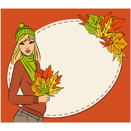Vector beautiful girl with autumn leaves Vector