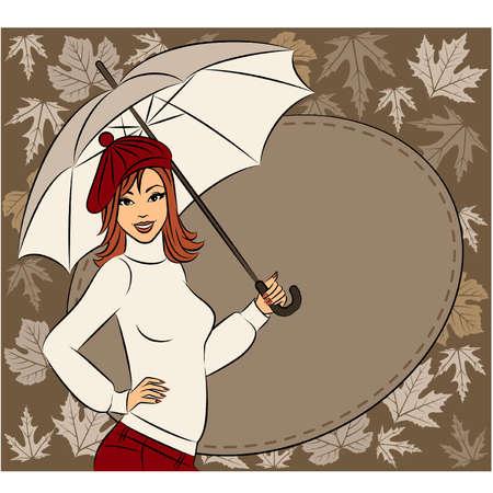 Vector beautiful girl with umbrella Illustration