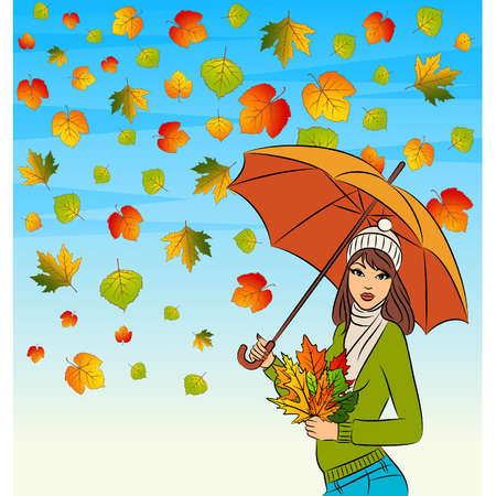 Vector beautiful girl with autumn leaves and umbrella Stock Vector - 11274754