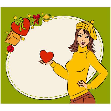 haert: Vector beautiful girl with Christmas gift Illustration