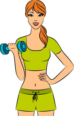 healthy woman white background: Vector beautiful fitness woman with free weights in gym