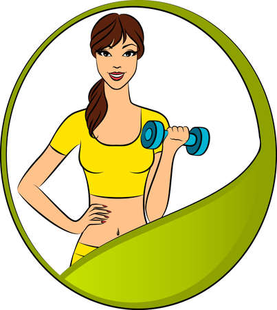 hand with dumbbell: Vector beautiful fitness woman with free weights in gym