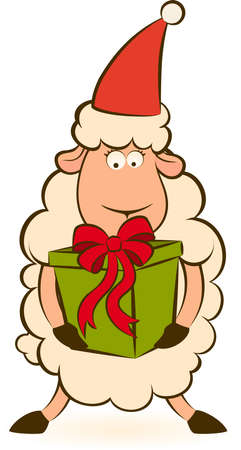 Cartoon funny Santa Claus sheep with gift.  photo