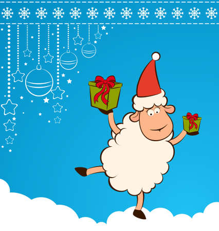 Cartoon funny Santa Claus sheep with gifts. photo