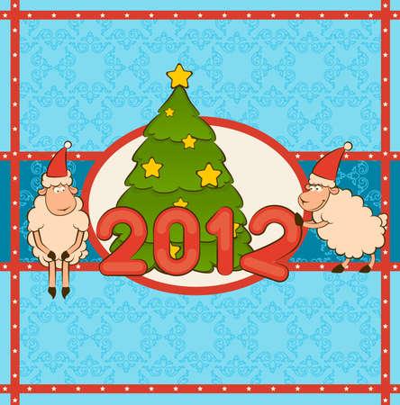 firtree: Cartoon funny sheep with fir-tree