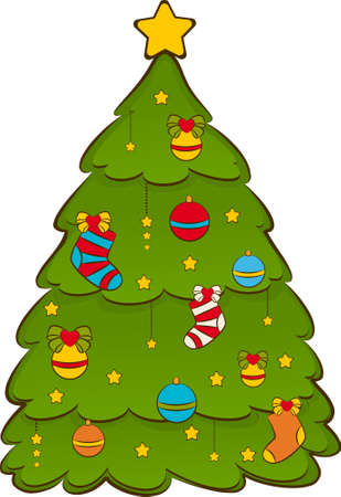 Cartoon Christmas fir-tree. photo