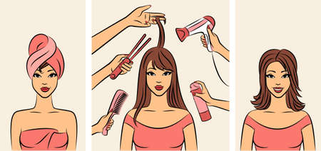 Women with coiffure in a beauty salon. photo