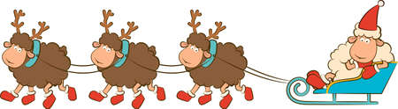 Cartoon funny deer with sledges.  Stock Photo - 11277663
