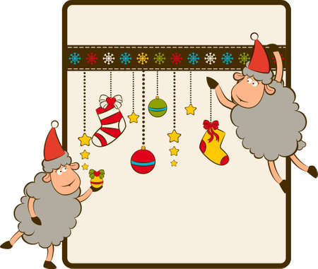 Cartoon funny Santa Claus sheep.  photo